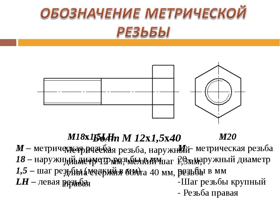 Обозначения и таблицы для конической резьбы