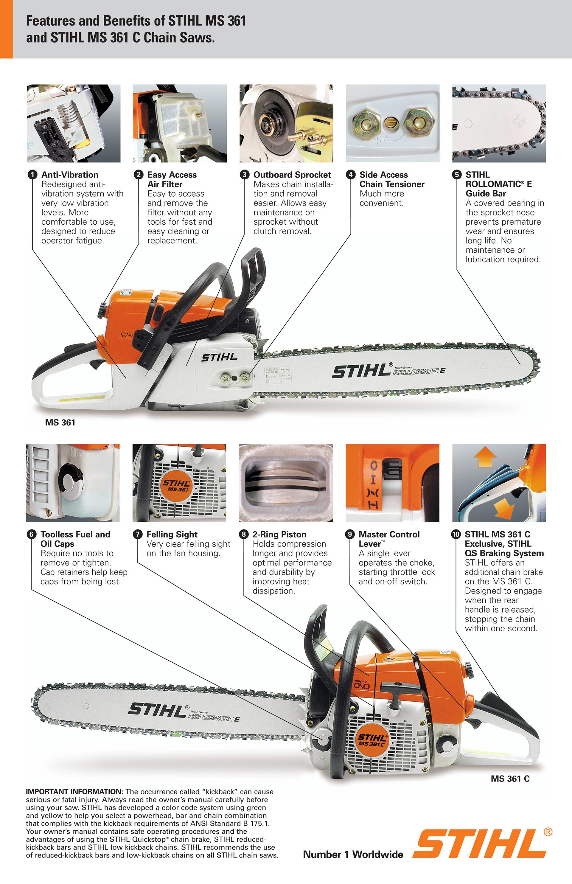 Бензопилы stihl — обзор моделей. правила безопасности и техника применения инструмента