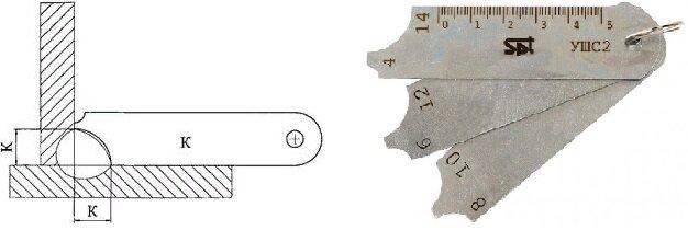 Измерение катета сварного шва