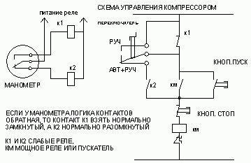 Схема подключения электроконтактного манометра